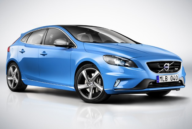 2013 Volvo V40 R-Design - front three-quarter studio shot in Rebel Blue