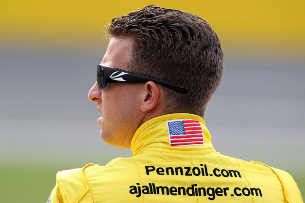 NASCAR racer A.J. Allmendinger looking over his shoulder