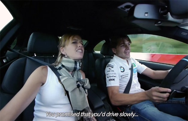 BMW DTM driver Augusto Farfus takes his wife Liri around the 'Ring in an M3