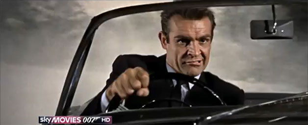 Sean Connery as James Bond behind the wheel