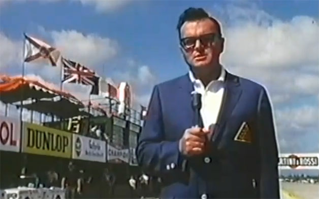 Motor Journalist Chris Economaki doing a standup in the pits - video screencap