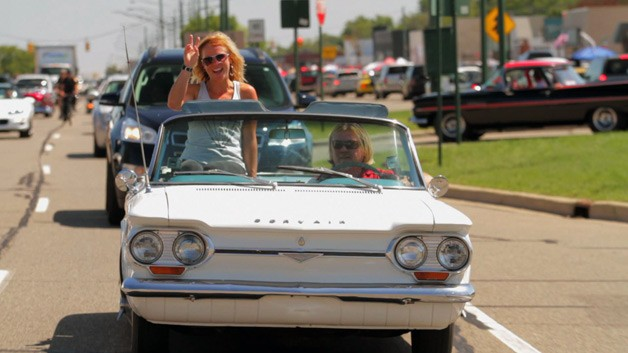 Jessi Combs in Corvair with Scott Burgess at 2012 Woodward Dream Cruise