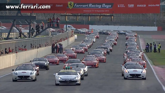 964 Ferrari models in world-record parade lap at Silverstone - Sept. 15, 2012