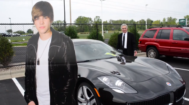 Fisker Karma gets lemon law'd with lawyer Vince Megna and cardboard cutout of Justin Bieber