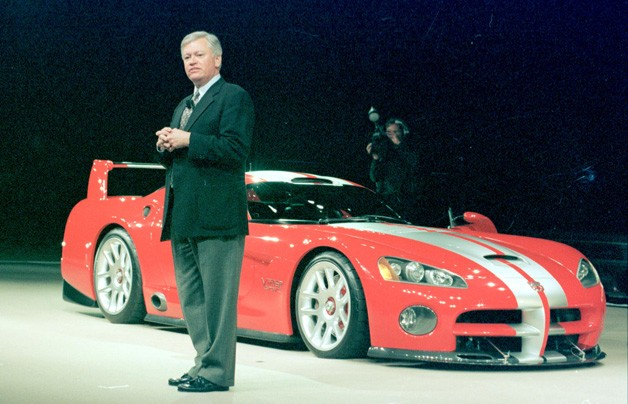Tom Gale with Dodge Viper on show stand