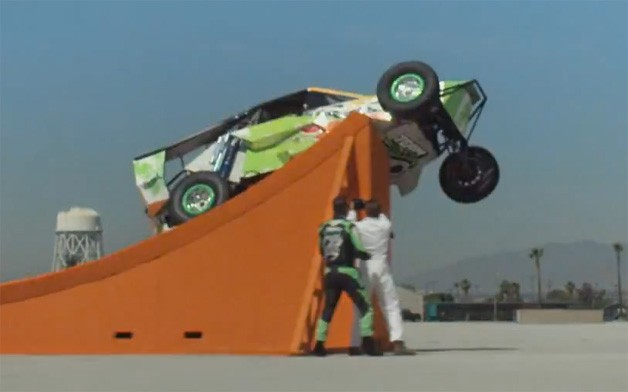 Hot Wheels real-life corkscrew world record jump attempt
