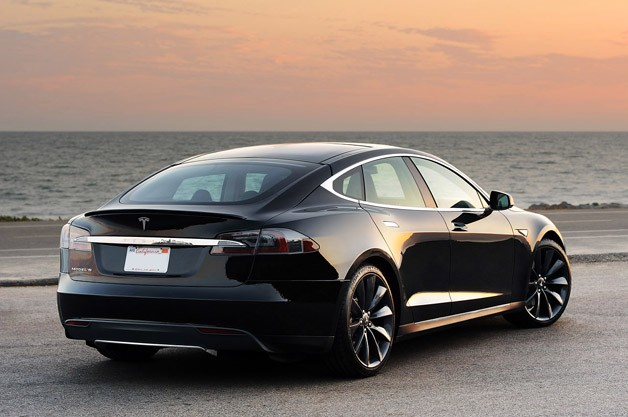 2012 Tesla Model S rear 3/4 view