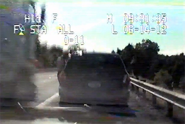 Dashcam image of MD trooper David Avila