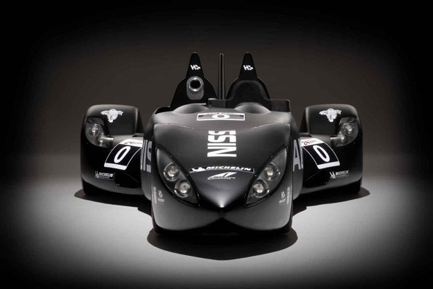 Nissan DeltaWing race car - front dead-on view, studio image