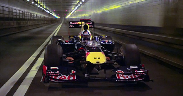 Red Bull RB7 F1 racecar in Lincoln Tunnel