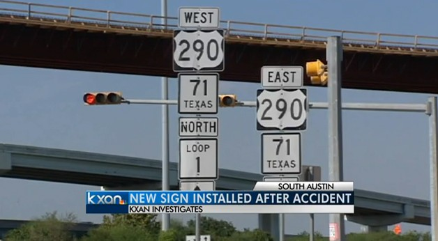 Texas road sign damages SUV