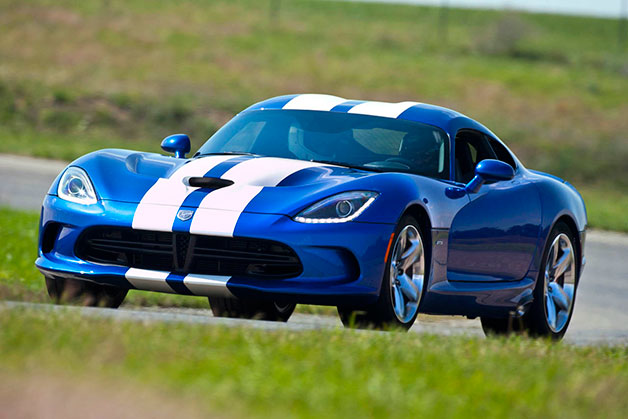 2013 SRT Viper - blue with white stripes - front three-quarter view