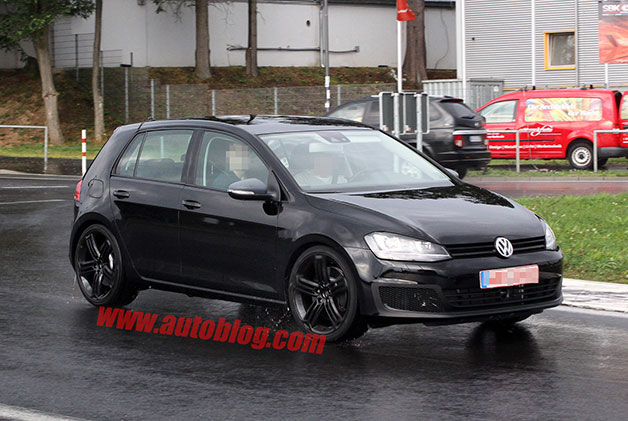 2014 Volkswagen Golf R prototype spy shot - front three-quarter view
