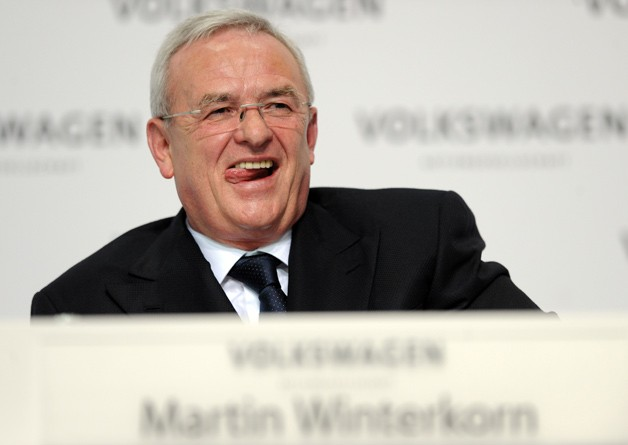 VW CEO Martin Winterkorn licks his lips during press conference