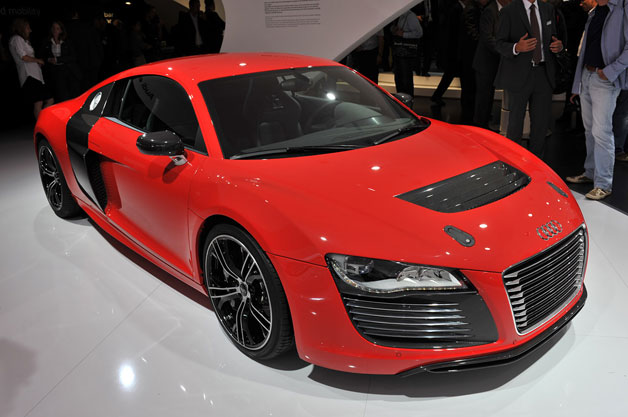 Audi R8 E-Tron in red on auto show floor