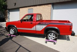 1989 Shelby Dodge Dakota - rear three-quarter view, on castors