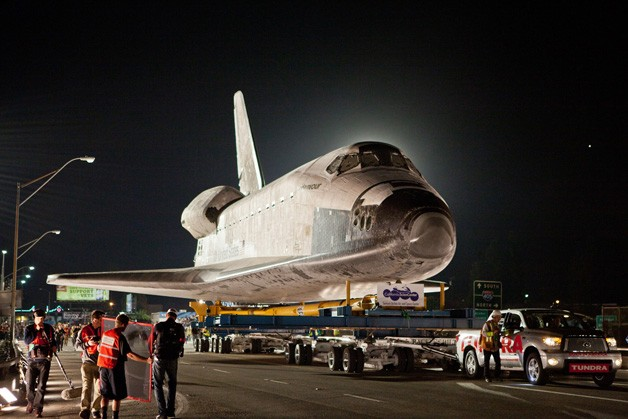 2012 Toyota Tundra tows the Space Shuttle Endeavour