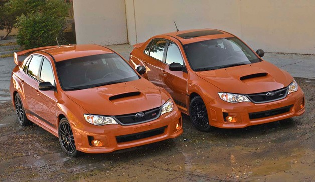 2013 Subaru WRX and WRX STI Special Edition models - front three-quarter overhead view