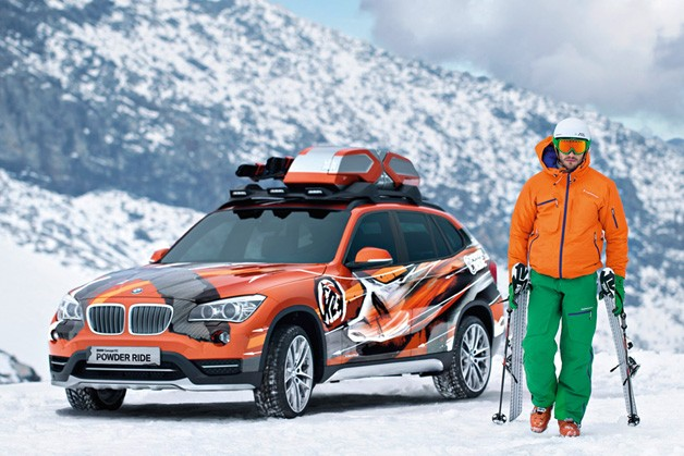 BMW Concept K2 Powder Rider - front three-quarter view on the slopes with skier