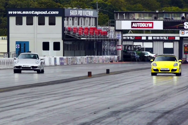 Porsche Boxster vs 911 drag race