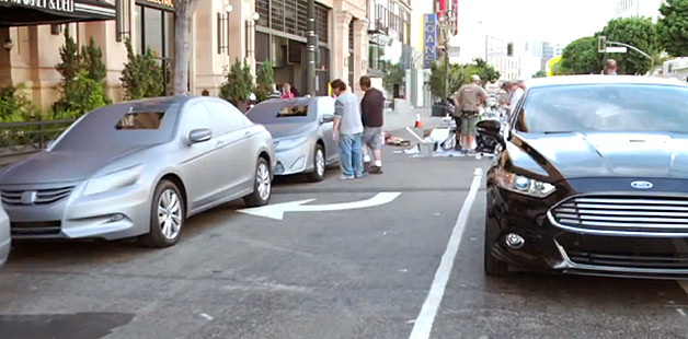 Artist Liu Bolin works his magic on Ford Fusion competitors - video screencap