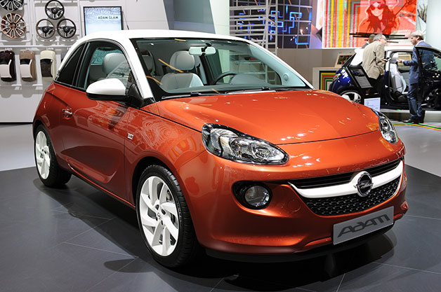 Opel Adam live on show stand - copper with white wheels and top