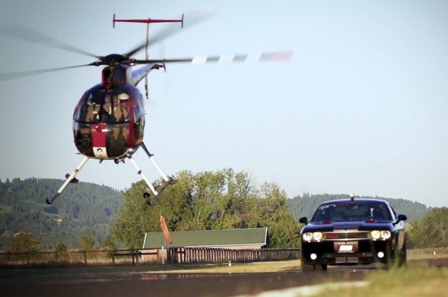 Helicopter race against car