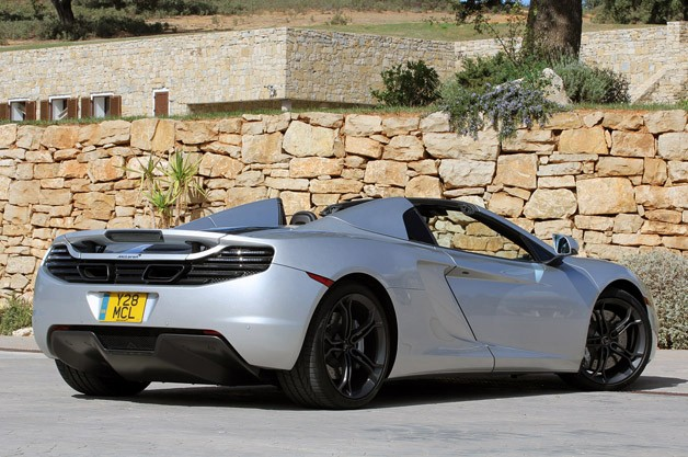 2013 McLaren MP4-12C Spider rear 3/4 view