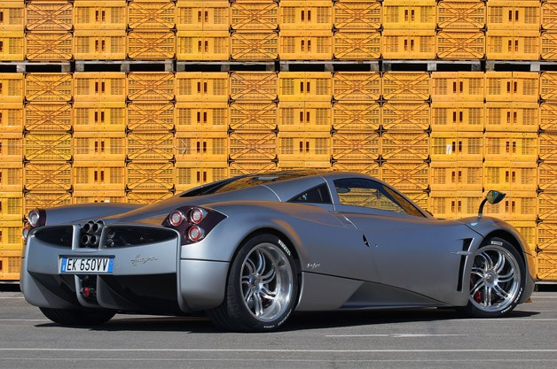 2013 Pagani Huayra rear 3/4 view