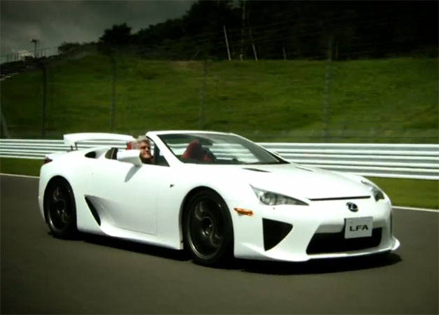 Jay Leno driving top-down in Lexus LFA Roadster