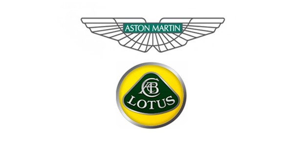 Aston Martin and Lotus automaker emblems