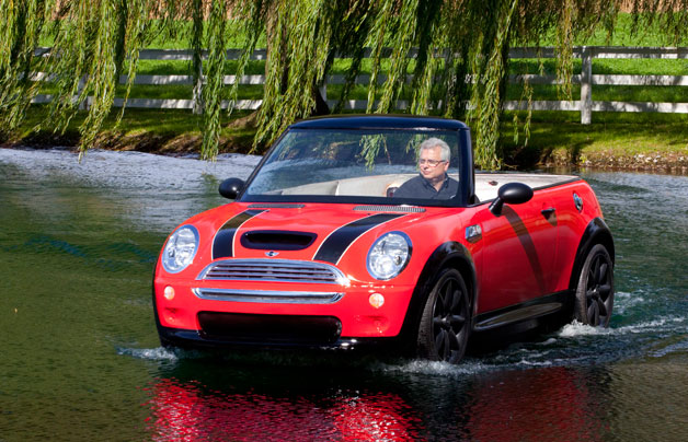 Mini Cooper Convertible-shaped promotional boat on the water