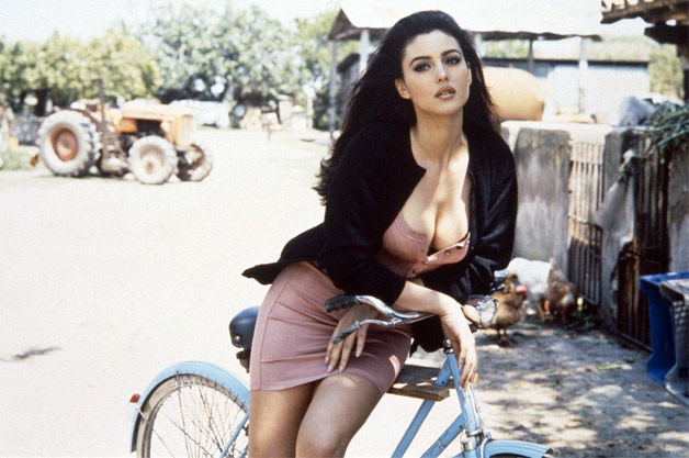 Monica Bellucci on bicycle