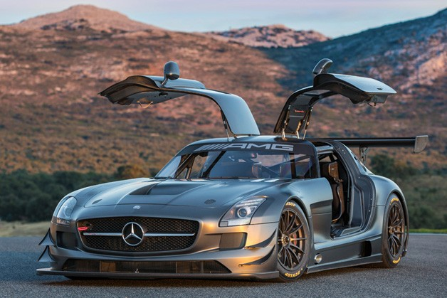 Mercedes-Benz SLS AMG 45th Anniversary - front three-quarter view, doors up