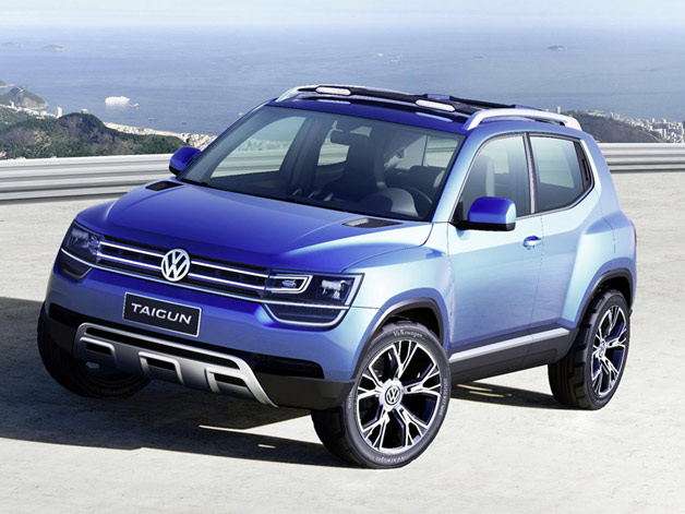 Volkswagen Taigun small crossover concept - front three-quarter view, blue