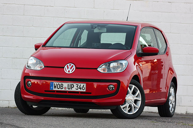 2012 Volkswagen Up! two-door hatchback - red, front three-quarter view