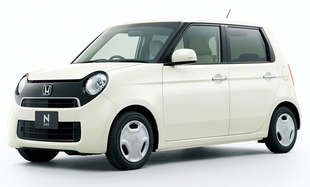 Honda N-One in white - front three-quarter studio view