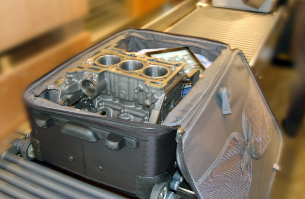 ford 39 s 1 0l ecoboost engine makes the journey to la in a carry on bag. Black Bedroom Furniture Sets. Home Design Ideas