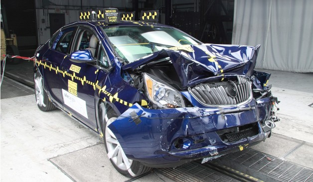 2012 Buick Verano NHTSA crash test - front three-quarter view, post test