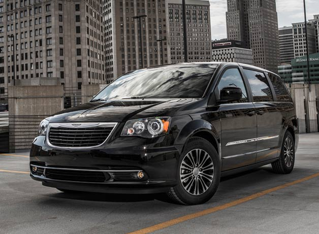 2013 Chrysler Town and Country S - front three-quarter view, black