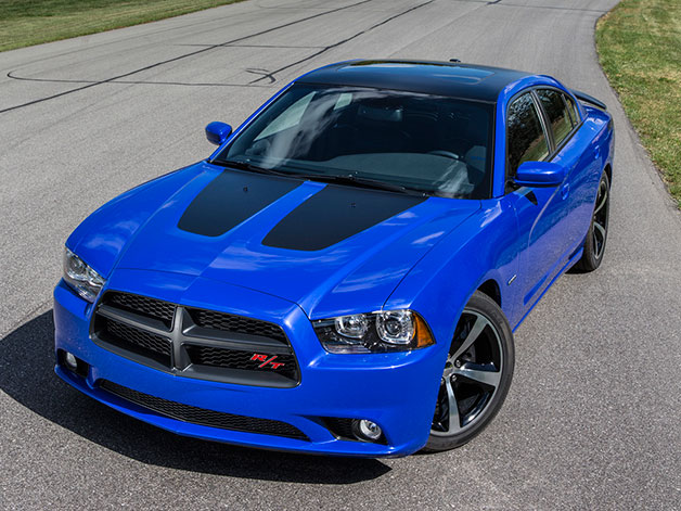 2013 Dodge Charger Daytona - overhead front three-quarter view, blue