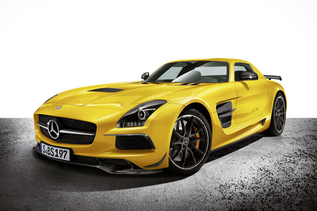 Mercedes-Benz SLS AMG Black Series - front three-quarter view, yellow