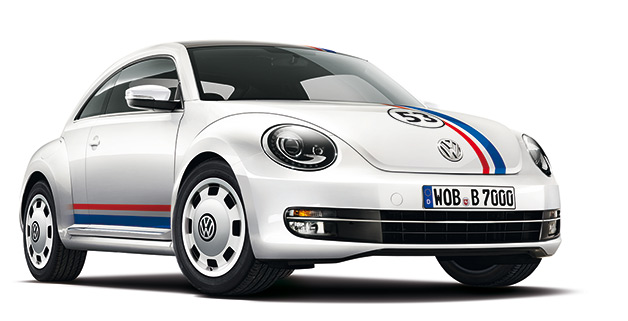 white volkswagen beetle with blue and red racing stripes and 53 number