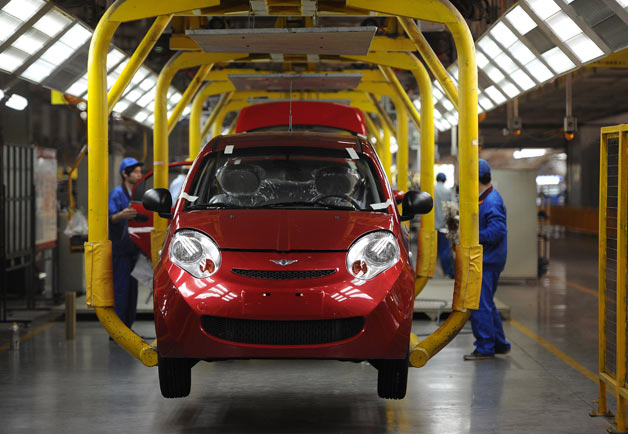 Chery vehicles on assembly line in China