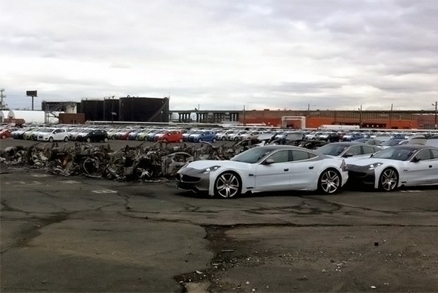 damaged fisker automobiles sitting in new jersey
