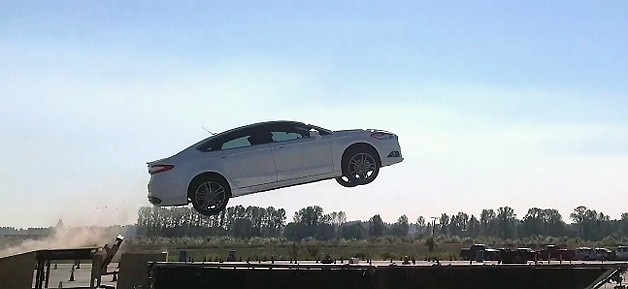 2013 Ford Fusion jumping for commercial joy
