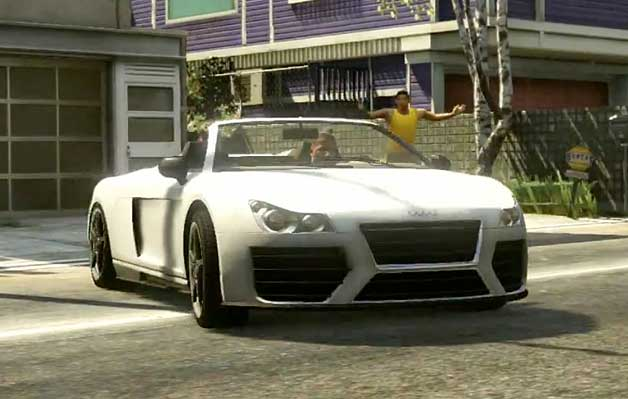 Grand Theft Auto V video screencap of Audi R8 clone