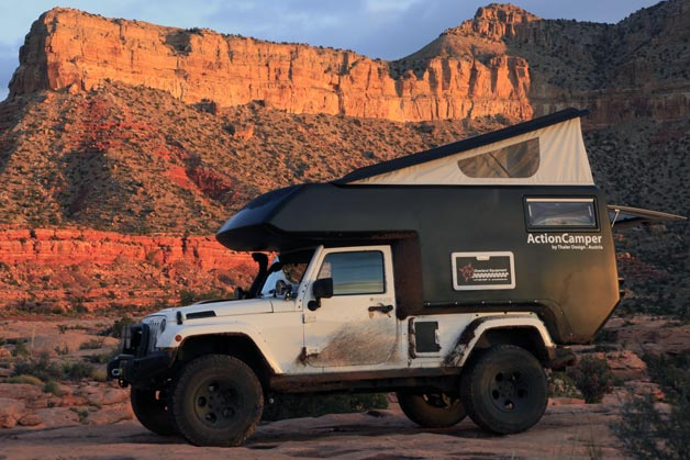 Jeep Wrangler Unlimited ActionCamper with top popped