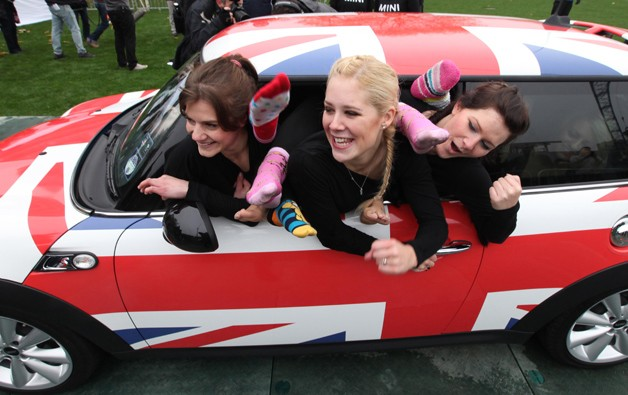 "28 ""flexible ladies"" squeeze in to the Mini Cooper"