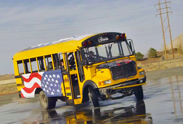 Nitro Circus drifting school bus